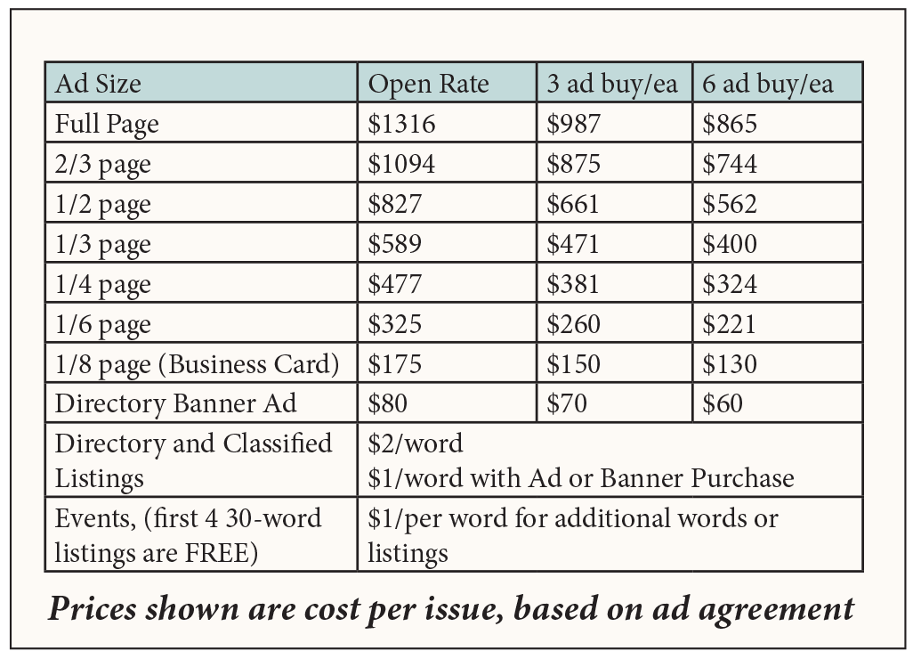 Ad Rate Chart