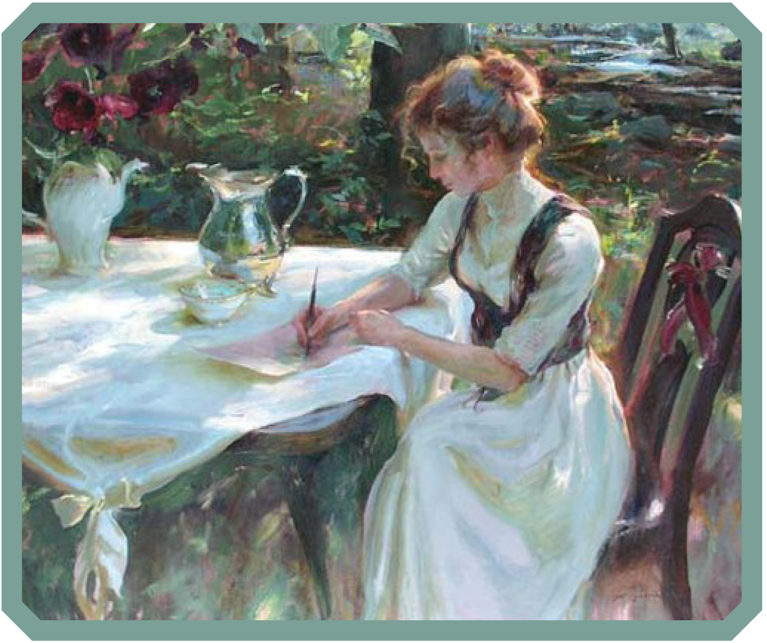 Woman write at table in garden
